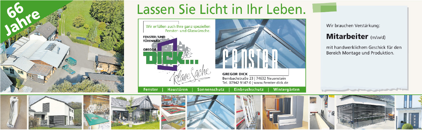 Stellenangebote Fensterbau / Glaser Dick Neuenstein Hohenlohe